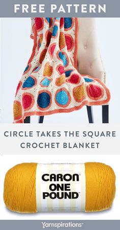 """Free Circle Takes the Square Crochet Blanket pattern using Caron One Pound yarn. It's bright, cheerful and finishes with a retro vibe you'll love in any room. Start your color story in the shades shown, or tell it in your favourite tones from Caron One Pound. Generously sized at 58"""" x 66"""", you know this gorgeous afghan will add tons of personality to any room in your home. #Yarnspirations #FreeCrochetPattern #CrochetAfghan #CrochetThrow #CrochetBlanket #CaronYarn #CaronOnePound Knit And Crochet Now, Free Crochet, Crochet Things, Crochet Blanket Patterns, Knitting Patterns, Caron One Pound Yarn, Caron Yarn, Crochet Projects, Art Projects"""