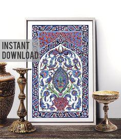Printable Art Traditional Antique Ottoman Turkish Tile