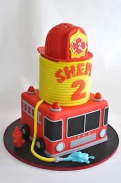Best Fireman Birthday Party Ideas For Boys – Pretty My Party Firefighter Birthday Cake Firefighter Birthday Cakes, Fireman Birthday, Fireman Party, 3rd Birthday, Boy Birthday Cakes, Cupcake Birthday Cake, Birthday Ideas, Fire Engine Cake, Fireman Sam Cake