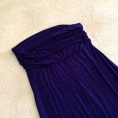 Strapless maxi dress This dress says medium, but I would say it runs small and fits an XS-S. When I bought it I was an XS. The top part is really cute w/ ruching, as shown in last pic. I wore it once to a wedding. Really pretty purple color. Bought at a cute boutique in Cali. It's a little small for me now. Dresses Maxi