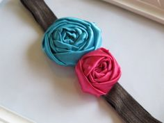 Turquoise and Hot Pink fabric flower satin headband by HappyLittleLovelies  #happylittlelovelies  #fabricflower