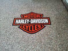 Harley Davidson - Garage Epoxy Coating W/ Logo - Knoxville TN Garage Epoxy, Garage Paint, Garage Tools, Garage Ideas, Car Garage, Motorcycle Workshop, Motorcycle Garage, Harley Ultra Classic, Party Shed