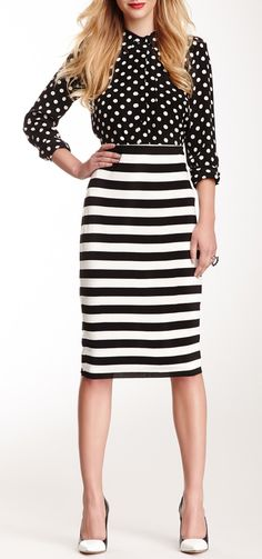 Black and white polka dots w/ black and white stripes: pattern mixing perfection