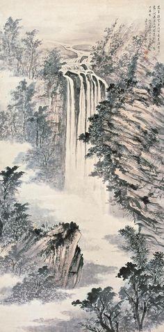 #waterfalllandscape #chineselandscape #asianbrushpainting