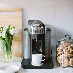 The Everygirl Office Kitchen Makeover Coffee Station Kitchen, Coffee Bar Home, Home Coffee Stations, Kitchen Styling, Kitchen Decor, Coffee Bar Design, Latte Art, Nespresso, Coffee Maker