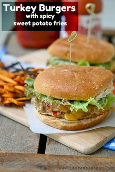 Girls Night Turkey Burgers with Spicy Sweet Potato Fries--one of the fastest and healthiest meals ever! Plus these are seriously so good!