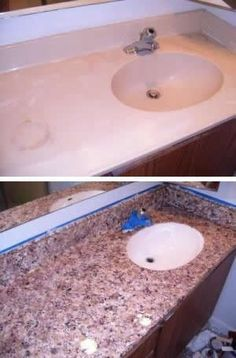 Paint your old counters! I never thought about doing this in the bathrooms! Makes Formica look like granite
