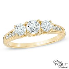 1.00 CT. T.W. Diamond Three Stone Past Present Future Engagement Ring in 14K Gold  - Peoples Jewellers