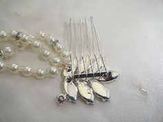 Vintage inspired rhinestone pearl bridal hair double by VogueHouse