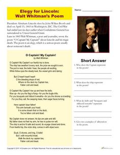 Abraham Lincoln Printable Activity - Elegy by Walt Whitman High School Reading, Student Reading, Reading Groups, Reading Comprehension Activities, Reading Strategies, Abraham Lincoln Birthday, Nonfiction Text Features, Ap Literature, Teaching Poetry