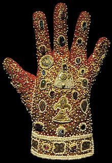 "modern-devotion: """" One of the gloves from Frederick II's imperial regalia for his coronation as Holy Roman Emperor in The imperial regalia was used in Germany until the century. Pretty impressive gloves, look at that embroidery! Medieval Embroidery, Gold Embroidery, Royal Jewels, Crown Jewels, Holy Roman Empire, Medieval Jewelry, Ancient Jewelry, Byzantine Art, Byzantine Jewelry"