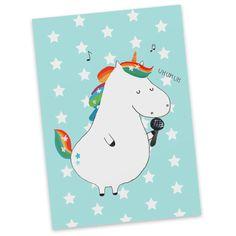 Postkarte  Einhorn Sänger aus Karton 300 Gramm  weiß - Das Original von Mr. & Mrs. Panda.  Diese wunderschöne Postkarte aus edlem und hochwertigem 300 Gramm Papier wurde matt glänzend bedruckt und wirkt dadurch sehr edel. Natürlich ist sie auch als Geschenkkarte oder Einladungskarte problemlos zu verwenden. Jede unserer Postkarten wird von uns per Hand entworfen, gefertigt, verpackt und verschickt.    Über unser Motiv  Einhorn Sänger  Ein Einhorn Edition ist eine ganz besonders liebevolle…
