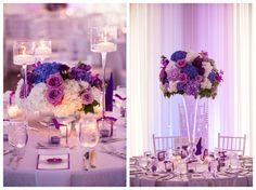 image of high low floral centerpieces | adding the dimension of both high and low centerpieces, be them floral ...