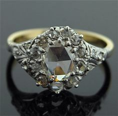 Antique Diamond Ring  14k White and Yellow Gold by SITFineJewelry,