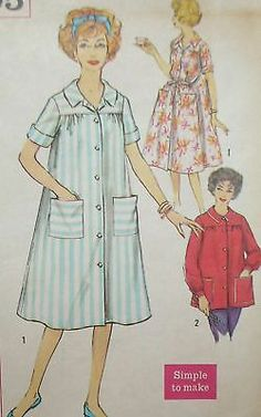 Vintage 1960s Simp 2705 House Dress Smock Pattern 32B
