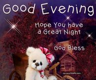 Good Evening Hope You Have A Great Night God Bless
