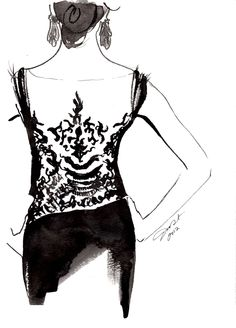 Gesture watercolor painting, titled Sexy Back by Jessica Durrant. #watercolor #fashion #illustration
