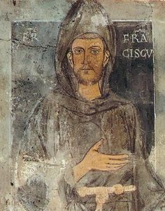 Oldest known portrait in existence of the saint, dating back to St. Francis' retreat to Subiaco (1223–1224): depicted without the stigmata. Fresco at the Sacro Specco, Subiaco, Italy.