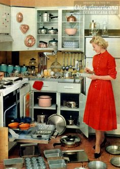 retro housewife satisfied of her well stocked vintage kitchen - Carefully selected by www.