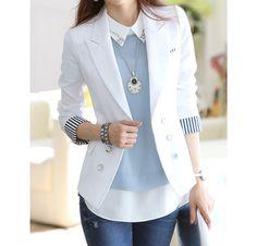 Stripe Tailored Collar Long Sleeves Polyester Ladylike Style Blazer | Fashion Uk Shop