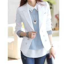 $16.29 Stripe Tailored Collar Long Sleeves Polyester Ladylike Style Blazer For Women (WHITE,M) | Sammydress.com
