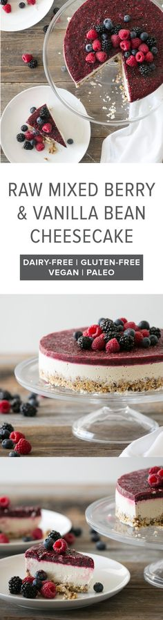 (gluten-free, dairy-free, paleo, vegan) One of my favorite raw cheesecake recipes - raw mixed berry and vanilla bean cheesecake.