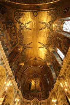 The stunning vault mosaics of Westminster Cathedral's Lady chapel were designed by Gilbert Pownall, and were executed in the 1930s. The gold vault, symbolic of heaven, and depicting the story of our Lady, took five years to complete.