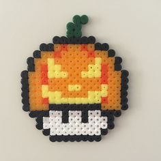 Pumpkin grinning mushroom perler beads by Bjrnbr - Björn Börjesson