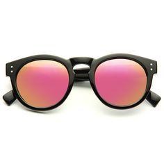 Cheap Designer Inspired Sunglasses | Malley Designer Inspired Unisex Color Mirror Rounded Sunglasses | BleuDame.com