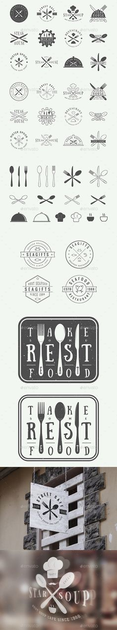 Vintage Restaurant Emblems Template PSD, Vector EPS, AI Illustrator