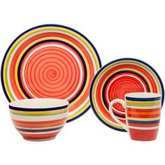 Bring a burst of colour to any meal with the House & Home 16 Piece Salsa Dinner Set. This bold and bright set is made from premium quality stoneware and finished with a vibrant multicoloured stripe pattern on each piece. This set features four place settings, each with their own dinner plate, side plate, bowl and mug.
