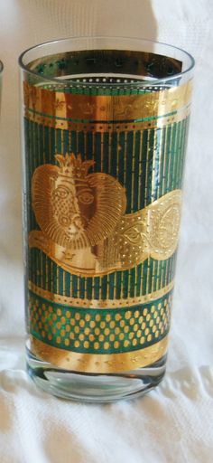 Vintage Signed Georges Briard Green and Gold Tall Glass