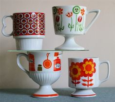 vintage mugs  ♥ these colors☺