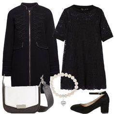 best service 1036e 6a6f9 Look bianco e nero, composto da cappotto nero con collo alla coreana  abbinato ad un