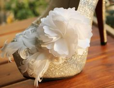 Bridal Shoe Clips White Flower Shoe Clip Feather by TopWedding, $35.00