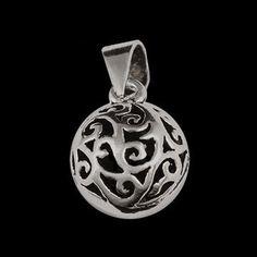 Pingente de prata 925 redondinho desenhado vasado