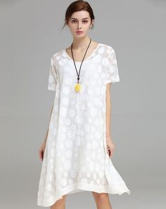 #VIPme White Polka Dot V-Neck Oversized Dress ❤️ Get more outfit ideas and style inspiration from fashion designers at VIPme.com.