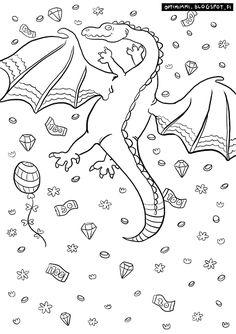 OPTIMIMMI | A free coloring page of a dragon, diamonds and coins / Ilmainen värityskuva lohikäärmeestä, timanteista ja kolikoista