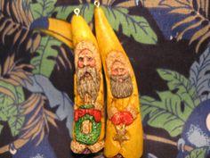 2 original miniature Yellow Victorian Antler Santa by AntlerNIvory