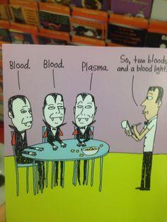 No blood bank can ever resist a good vampire joke. Laboratory Humor, Medical Laboratory Science, Lab Humor, Work Humor, Phlebotomy Humor, Medical Lab Technician, Med Lab, Tech Humor, Science Jokes