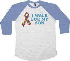 94a60dbd9 Autism Awareness T Shirt I Walk For My Son Autism Shirt Autism Ribbon  Support TShirt Charity T Shirt American Apparel Unisex Raglan - SA605