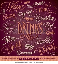 DRINKS menu headlines set of 20 hand letterings -- custom handmade calligraphy, vector (eps8) - stock vector #download #stock #StockImages #microstock #royaltyfree #vectors #calligraphy #HandLettering #lettering #design #letterstock #silhouette #decor #printable #printables #craft #diy #card #cards #label #tag #sign #vintage #typography