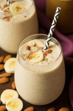 Banana Almond Flax Smoothie |   Ingredients  1 medium well ripened banana, peeled diced into pieces, frozen 2/3 cup unsweetened almond milk 1/3 cup fat free plain Greek yogurt 1 1/2 Tbsp creamy almond butter 1 Tbsp ground flaxseed meal 1 tsp honey 2 - 3 drops almond extract (pour into extract lid first then drop in blender so you don't add too much) 4 ice cubes (optional) Directions  To a blender add banana, almond milk, Greek yogurt, almond butter, ground flaxseed, honey and almond extract.