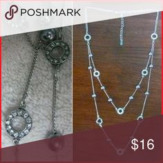2 tier necklace Faux pearl and rhinestones.  Two tiers and extention. Jewelry Necklaces