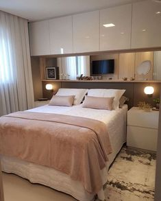 Narrow Bedroom, Small Master Bedroom, Dream Bedroom, Modern Bedroom, Small Double Bedroom, Minimalist Bedroom, Wardrobe Design Bedroom, Bedroom Inspo, Home Decor Bedroom