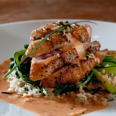 A very yummy recipe for�Seared Ahi Tuna steaks on a bed of Spinach and rice.. Seared Tuna on a bed of Spinach rice. Recipe from Grandmothers Kitchen.