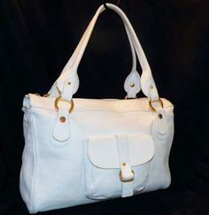 Valentina-Italia-Italy-Made-White-Pebbled-Leather-Satchel-Tote-Shoulder-Handbag