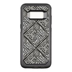 #Gray Black Textural Geometric-Hand Painted Pattern OtterBox Commuter Samsung Galaxy S8 Case - #elegant #chic