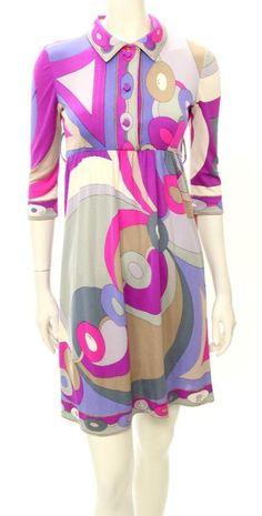 Emilio Pucci Vintage Magenta Print Button Up Collared Shirt Dress Size 10 #EmilioPucci #ShirtDress