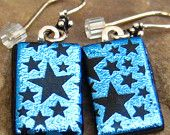 Blue Dichroic Fused Glass Drop Earrings, Starry Starry Night, Blue Stars Fused Glass Earrings